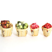 Miniature Food Fruit Baskets Dollhouse Fairy Garden 1:12 Scale Grapes and Berries Set of Four