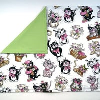 """Refillable Catnip Mat - Fancy Cats - with Velcro opening - 16"""" x 20"""" - Cat blanket, cat toy, cat pad"""