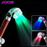 jooe LED shower head Negative ion spa shower head Temperature sensor 3 Colors light abs Showers Filter bathroom accessories
