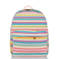 Casual Colorful Couple Striped Multi-color Stripes Korean Backpack = 4887709060