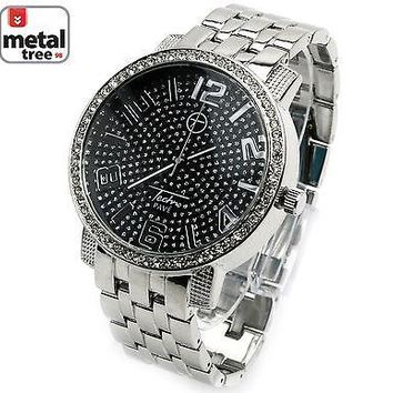 Jewelry Kay style Fashion Hip Hop Iced Out Silver Plated CZ Metal Band Men's Watches 7176 SLBK