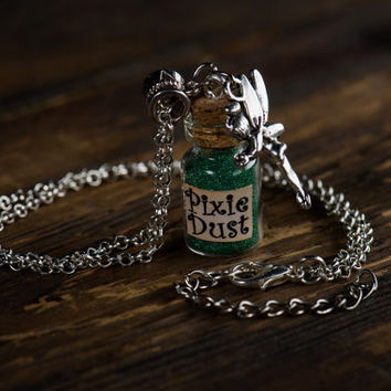 PIXIE DUST // Fairy Dust // Tinkerbell // mini glass bottle pendant // for Once Upon a Time and Peter Pan fans