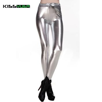 KISSyuer New Shining Gold Shiny Silver Twinkle Black PU Faux Leather Fitnesss Leggings Wet Look Women Warm Winter leggings KL104