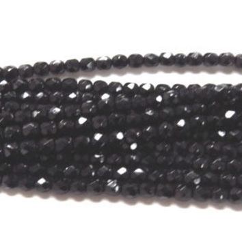 3mm Czech Jet fire Polished Glass beads