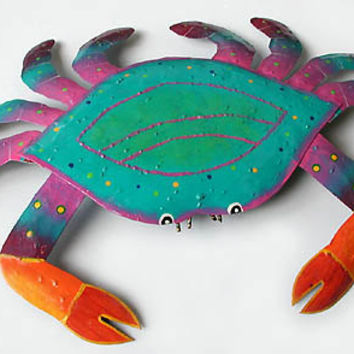 "Metal Wall Hanging - Crab Tropical Garden Decor  - Patio Art - 15"" x 21"" - Hand Painted Metal Art of Haiti - RX-107-PT-21"