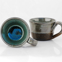 ceramic mugs blue  - set of two