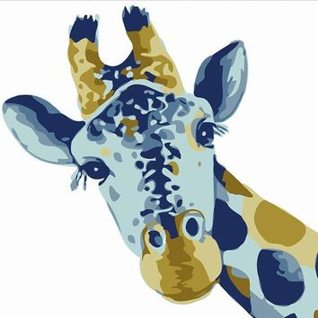 Giraffe DIY Kids Paint By Numbers Kit: Includes Acrylic Paints, Brushes and Canvas with Frame Option