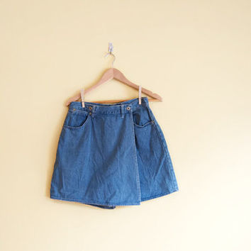 Vintage 90s Denim Skort - 90s Skort Large Denim Skirt 90s Denim Skirt Jean Shorts 90s Skirt 90s Mini Skirt Jean Skort 90s Clothing Cotton
