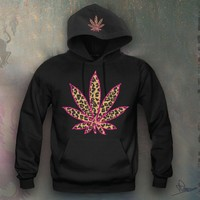 Cheetah Leaf Hooded Sweatshirt Funny and Music