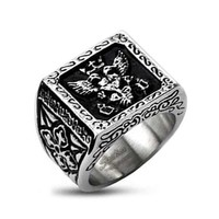Stainless Steel Centered Royal Empire Shield & Pattern Design on Side View of Biker Ring (Width 11.5MM) - Crazy2Shop