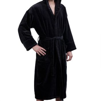100% Turkish Cotton Adult Hooded Terry Velour Robe - Black - Adult