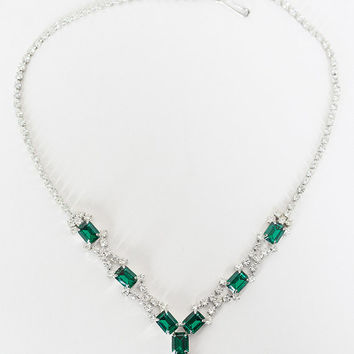 Vintage 60s Necklace / 1960s Emerald and Crystal Rhinestone Drop Necklace