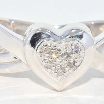 Natural Diamond Always & Forever Engraved Heart Ring .925 Sterling Silver Rhodium Finish