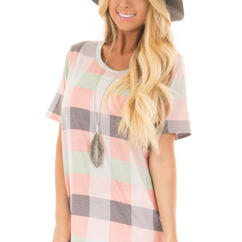 Multi Color Plaid Tee Shirt