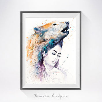 Wolf Girl watercolor painting print, Fashion Illustration, Wolf art, Woman art, Girl Illustration, watercolour, Girl art, art print