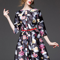 Flowers Printed Three-Quarter Sleeve Single-Breasted Midi Swing Dress