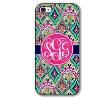 iPhone Case Pretty Floral Jewels Monogrammed iPhone Case 5 5S Hard Rubber Case