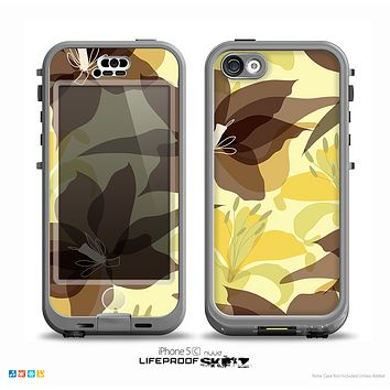 The Yellow and Brown Pastel Flowers Skin for the iPhone 5c nüüd LifeProof Case