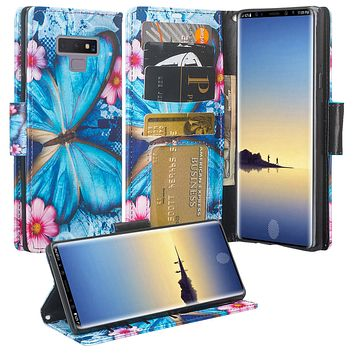 Samsung Galaxy Note 9 Case, SM-N960U Wallet Case, Wrist Strap Pu Leather Wallet Case [Kickstand] with ID & Credit Card Slots - Blue Butterfly