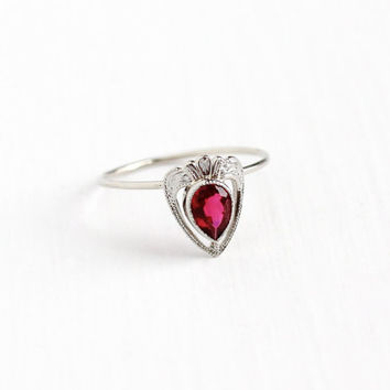 Vintage 10k White Gold Simulated Ruby Stick Pin Conversion Ring - 1920s Size 8 1/4 Art Deco Pink Red Glass Stone Dainty Band Fine Jewelry
