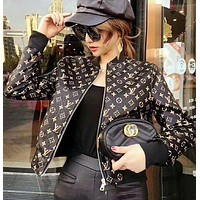 Louis Vutitton LV¡ÁSupreme Women Fashion Logo Letter Print Long Sleeve Baseball Clothes Zip Cardigan Coat