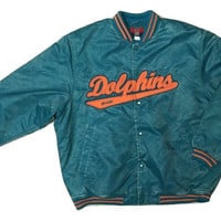 RARE Authentic Vintage Reebok Miami Dolphin NFL jacket Jersey Coat Men Women Clothing Tee Starter