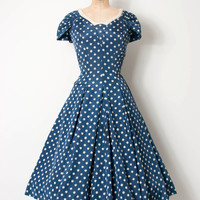 vintage 1950s dress / blue polka dot 50s party dress / Snowball Fight