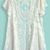 Beige Short Sleeve Crochet Lace Cover-up