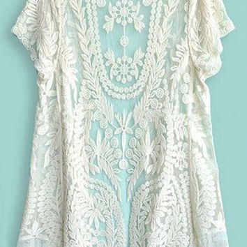 Beige Short Sleeve Lace Crochet Cardigan