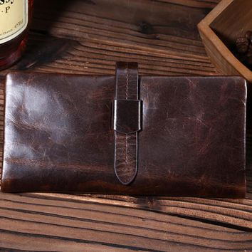 fashion retro genuine leather long wallet handmade card hold purse gift 09 2
