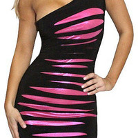 Plan Ahead (Black/Pink)-Great Glam is the web's top online shop for trendy clubbin styles, fashionable party dress and bar wear, super hot clubbing clothing, stylish going out shirt, partying clothes, super cute and sexy club fashions, halter and tube top