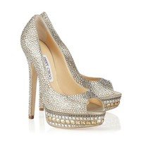 Champagne Leather and Crystal Platform Pumps | Cruise 2013 | JIMMY CHOO Pumps