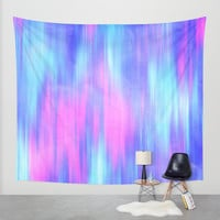 Aurora - Blur Abstract in Pink, Purple, Aqua & Royal Blue Wall Tapestry by TigaTiga Artworks
