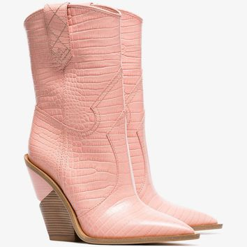 Cutwalk 100 crocodile-embossed ankle boots