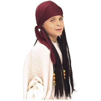 Pirate Bandana with Dreadlocks Wig Kids Boys Jack Sparrow Halloween Costume Asry