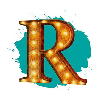 "24"" Letter R Lighted Vintage Marquee Letters (Rustic)"