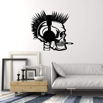 Vinyl Wall Decal Smoking Skeleton Headphones Skull Room Art Stickers Mural (ig5558)