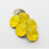 Six Yellow Opal 8mm 1088 Foiled Swarovski Xirius Pointed Back Chaton Crystal