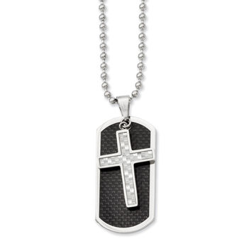 Stainless Steel Polished Blk/Grey Carbon Fiber Inlay Cross/DogTag Necklace SRN840