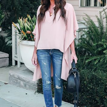 Pink Chic Flowy Style  High Low Blouses Top