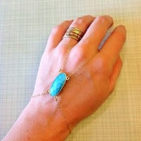 Gold filled turquoise slave chain/ boho jewelry/ tribal/ bracelet / edgy / unique / beautiful / gift