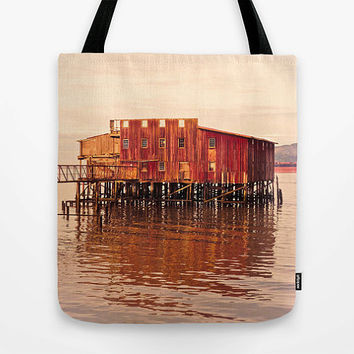 Fishing tote bag, Astoria Oregon, Old Red, pier, Columbia River, historical building, gillnetter, photo tote, beach bag, market tote, red