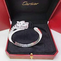 Cartier New Fashion More Diamond Leopard Hhead Women Men Opening High Quality Bracelet Silver