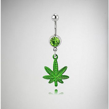 14 Gauge Silver and Green Cz Leaf Belly Ring - Spencer's
