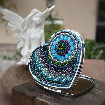 Compact Mirror, heart shaped, embellished with bead embroidery in peacock color, OOAK, blue, purple, green, silver