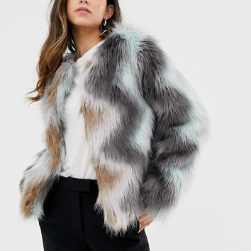 Vila Zig Zag Faux Fur Jacket at asos.com