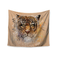 "Geordanna Cordero-Fields ""My Tiger"" Orange Tan Wall Tapestry"