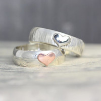 Sterling silver ring band with heart detail, personalized engraving inside ring, engraved ring, heart ring