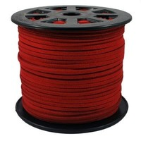 BeadsTreasure Red Suede Cord Lace Leather Cord For Jewelry Making 3x1.5 mm-20 Feet.