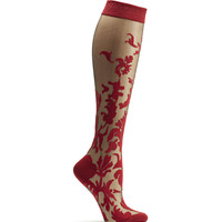Floral Damask Knee High Sock